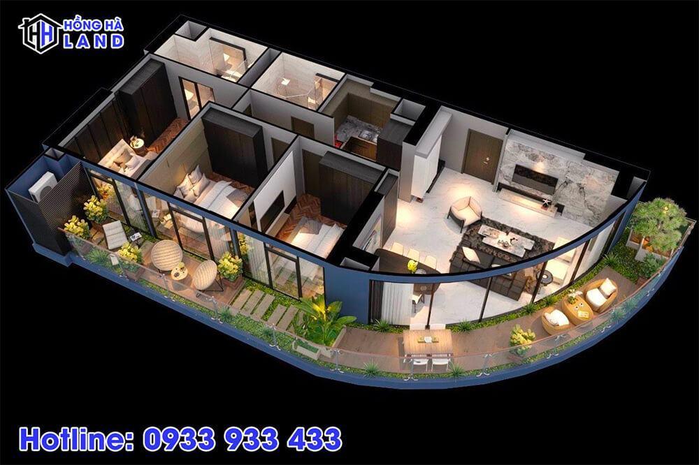 Hình ảnh 3D căn hộ 3 phòng ngủ
