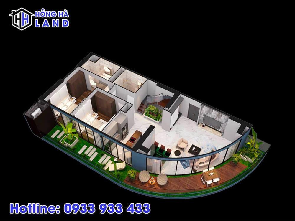 Hình ảnh 3D căn hộ 2 phòng ngủ