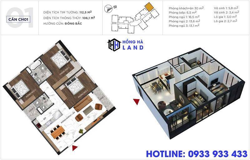 Mặt bằng căn hộ điển hình 3 phòng ngủ