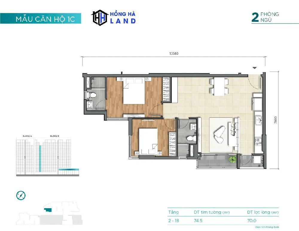 Mặt bằng căn hộ mẫu 1C – D'Lusso