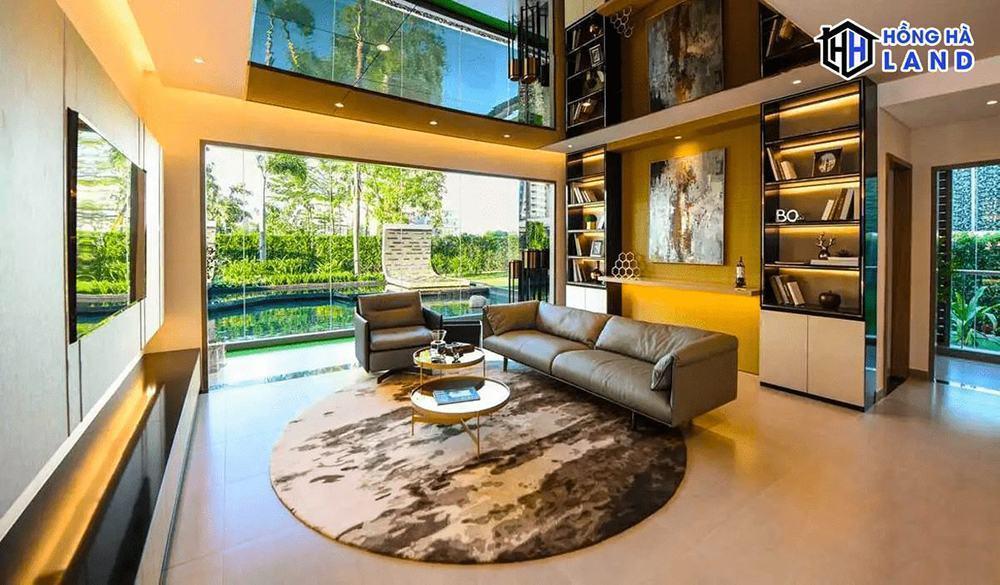 Phòng khách căn penthouse căn hộ D'Lusso