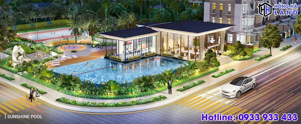 Hồ bơi nội khu trong khu biệt thự Verosa Khang Điền
