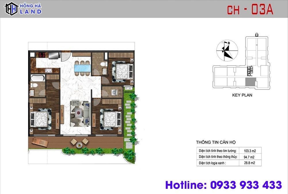 Mặt bằng căn hộ 3 phòng ngủ - Sunshine Quận 4