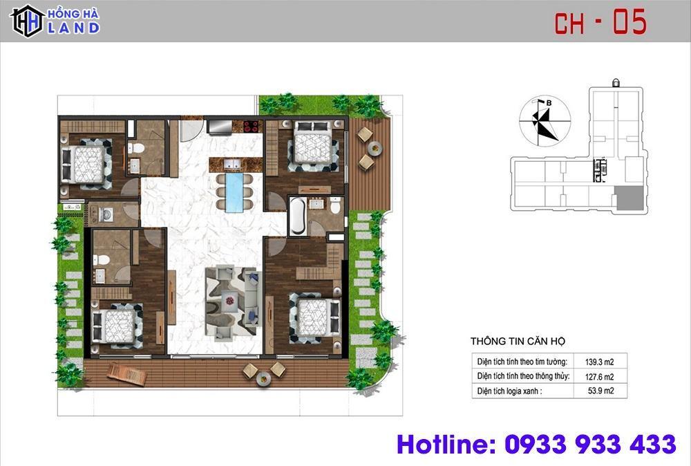 Mặt bằng căn hộ 4 phòng ngủ - Sunshine Quận 4
