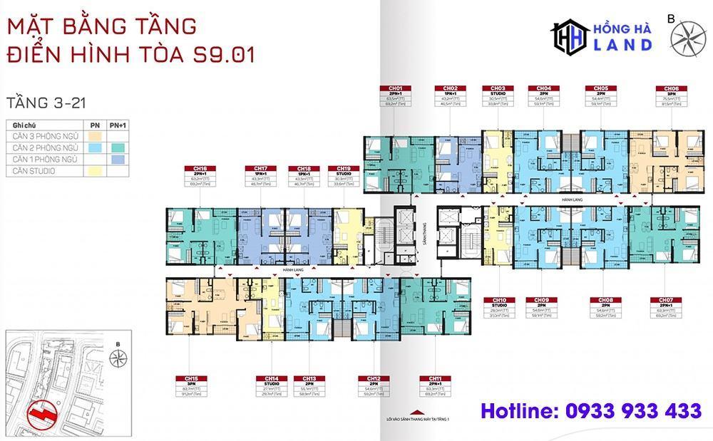 Mặt bằng tầng điển hình tòa S9 - Phân khu The Origami