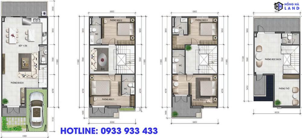 Mặt bằng thiết kế nhà phố 6 x 17m
