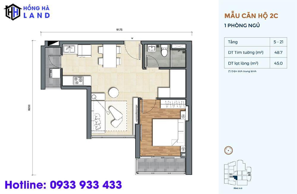 Mẫu căn hộ điển hình 1 phòng ngủ dự án Precia