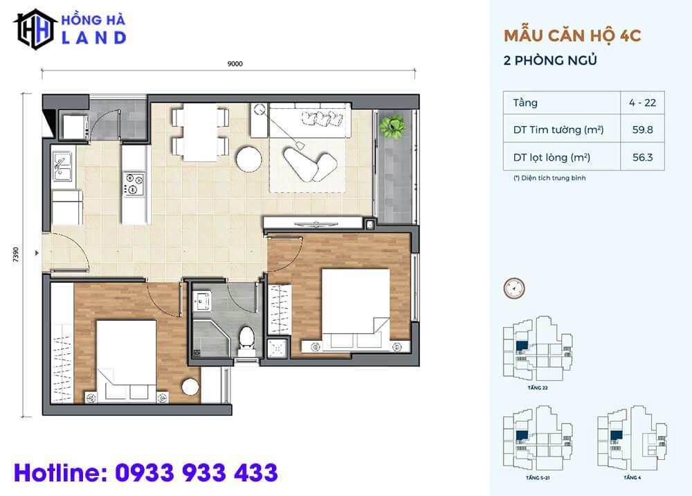 Mẫu căn hộ điển hình 2 phòng ngủ dự án Precia