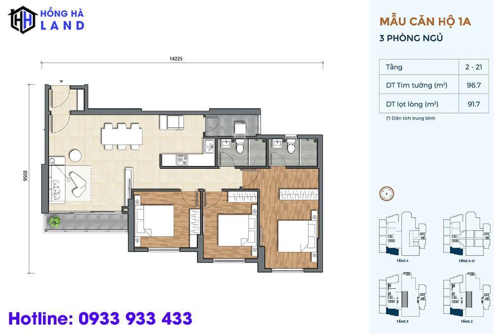 Mẫu căn hộ điển hình 3 phòng ngủ dự án Precia