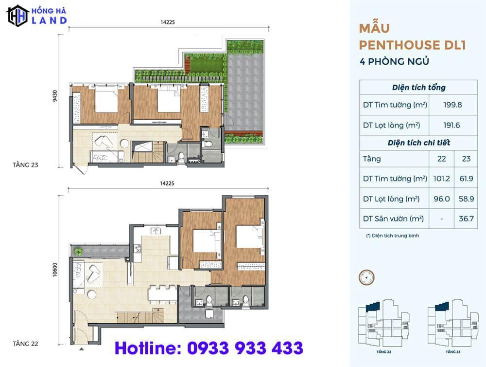 Mẫu căn hộ điển hình penthouse dự án Precia