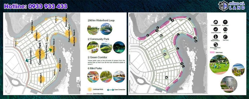 Hệ thống công viên tại Phân khu đảo phượng hoàng Aqua City