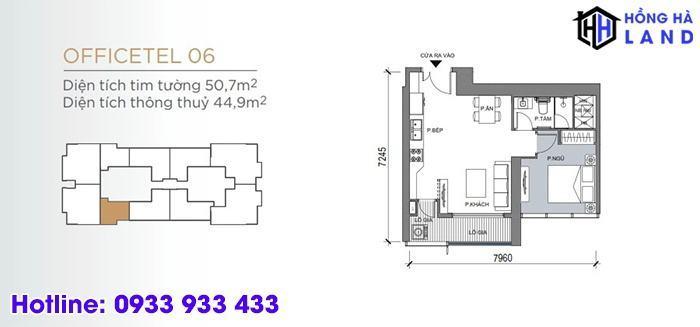Mặt bằng căn hộ điển hình 1 phòng ngủ - Masteri Centre Point