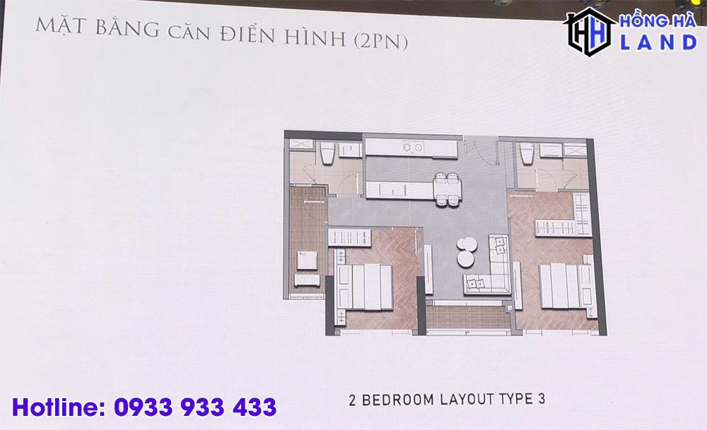 Mặt bằng căn hộ điển hình 2 phòng ngủ - Masteri Centre Point