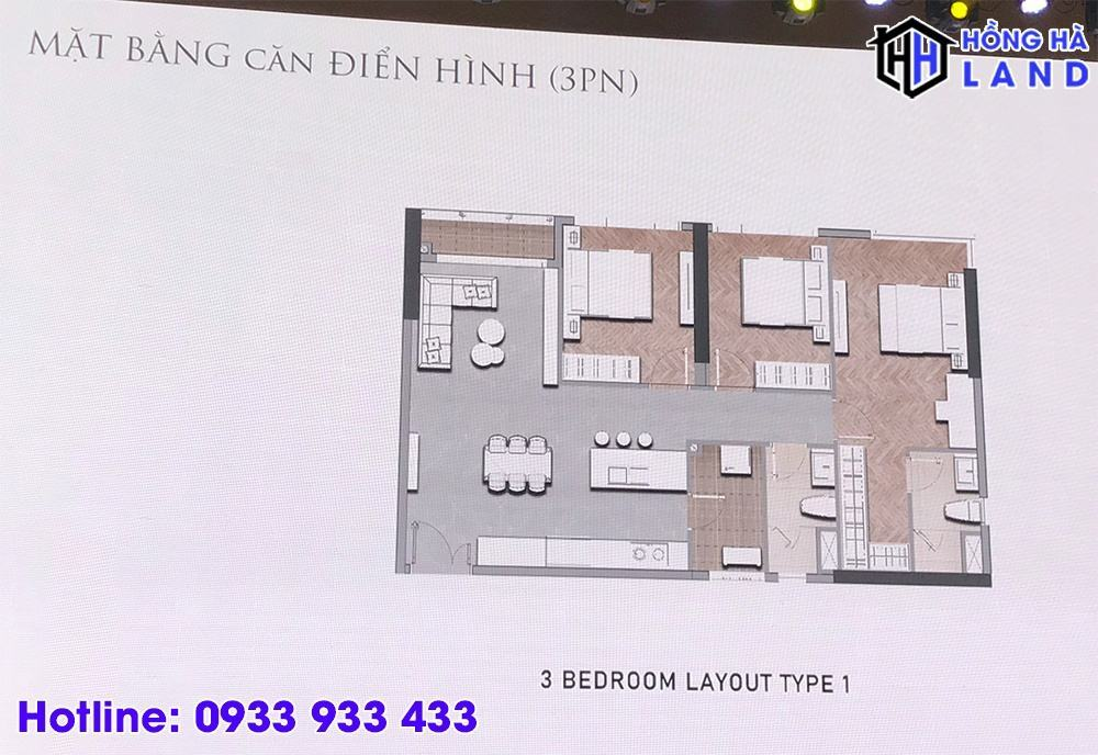 Mặt bằng căn hộ điển hình 3 phòng ngủ - Masteri Centre Point