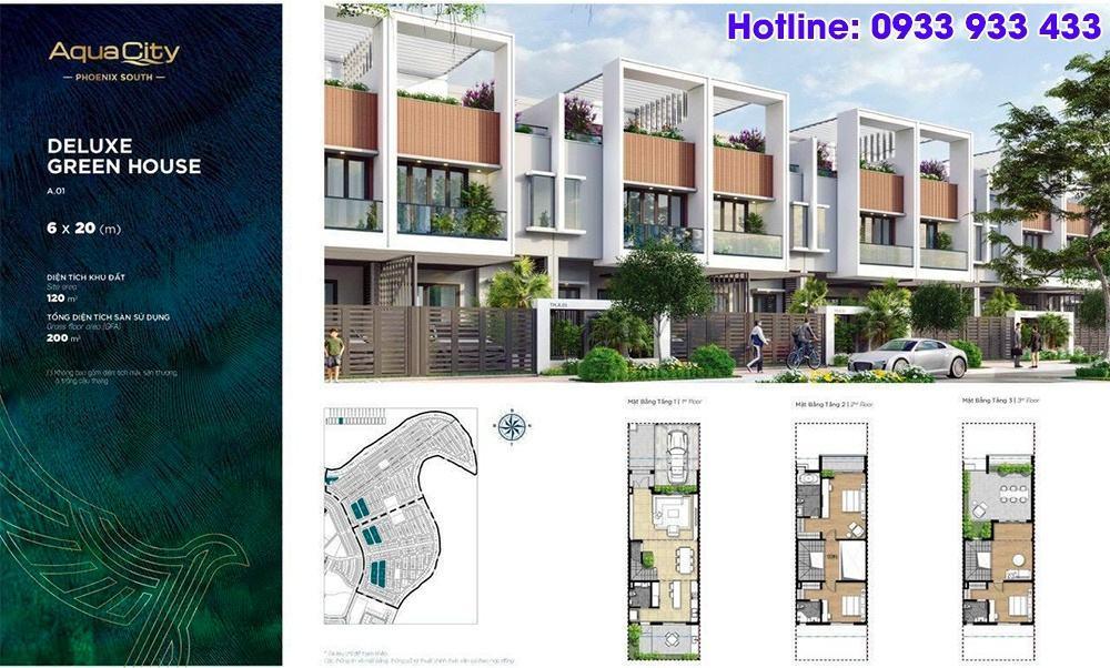Mặt bằng Deluxe Green House 6x20 - Phân khu đảo phượng hoàng