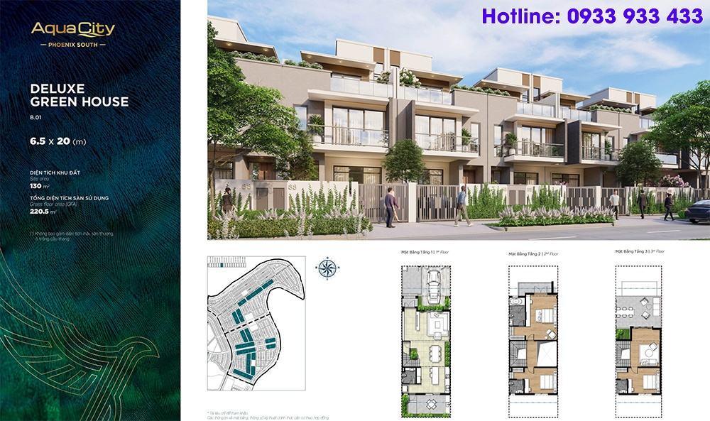 Mặt bằng Deluxe Green House 6.5x20 - Phân khu đảo phượng hoàng