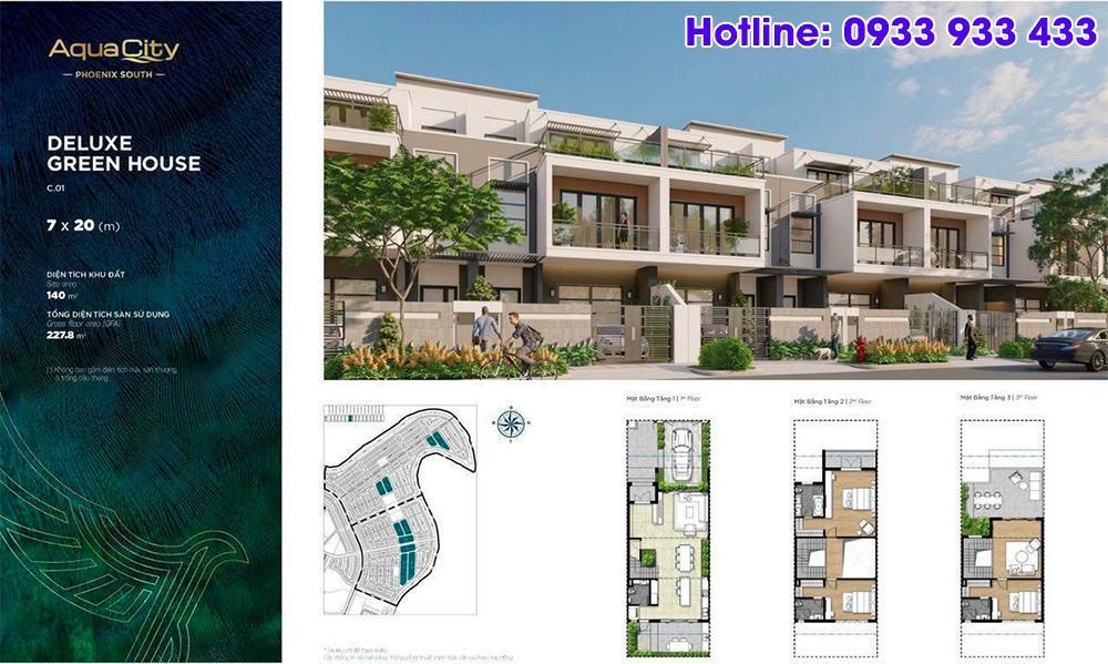Mặt bằng Deluxe Green House 7x20 - Phân khu Đảo Phượng Hoàng