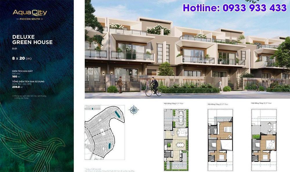 Mặt bằng Deluxe Green House 8x20 - Phân khu Đảo Phượng Hoàng