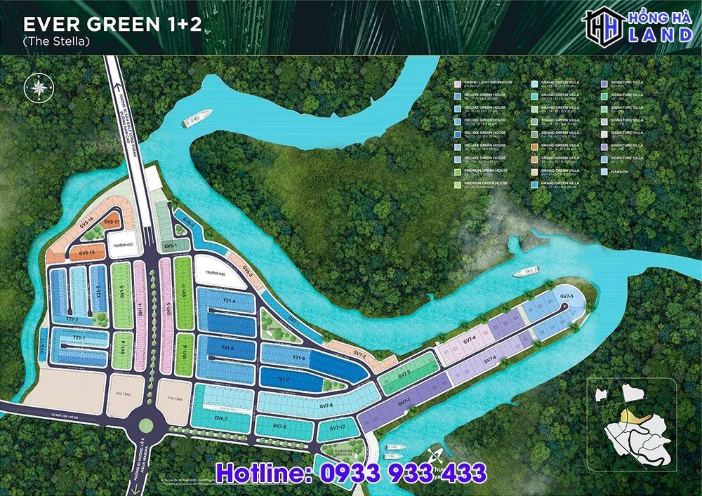 Mặt bằng phân khu Ever Green 1 và 2 Aqua City