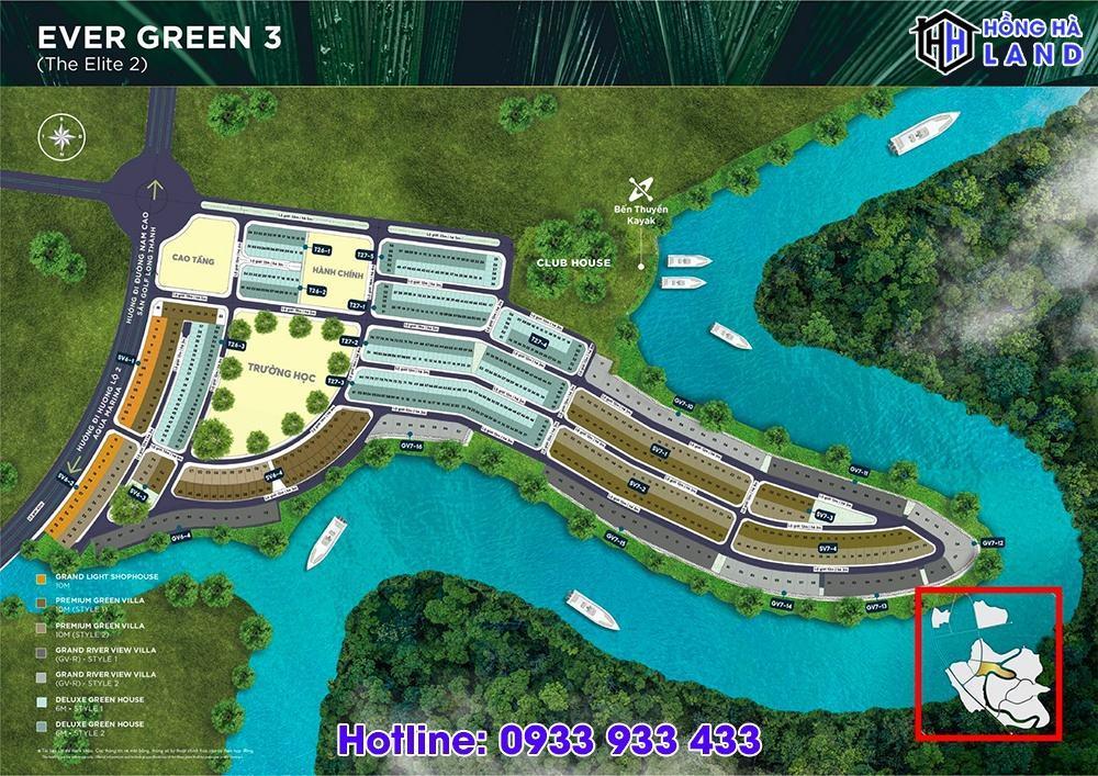 Mặt bằng phân khu Ever Green 3 Aqua City