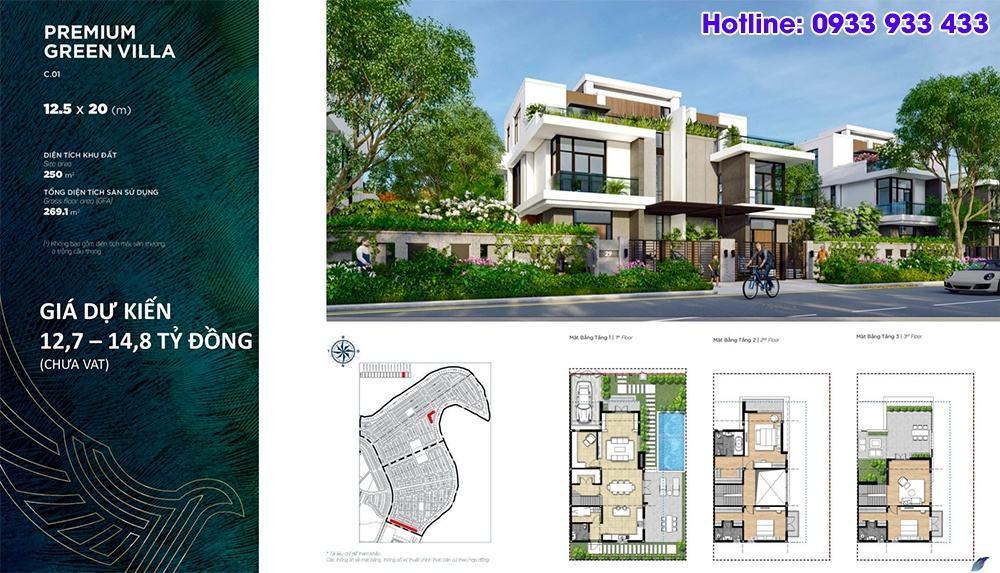 Mặt bằng Premium Green Villa 12.5x20 - Phân khu Đảo Phượng Hoàng