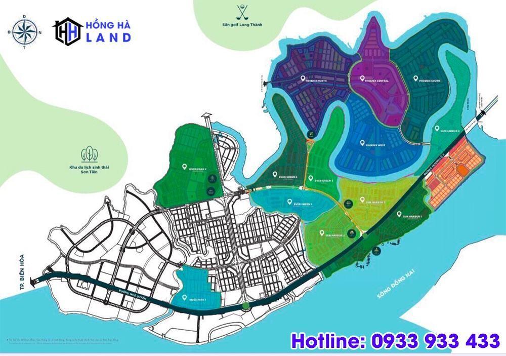 Mặt bằng tổng thể phân khu Đảo phượng hoàng Aqua City