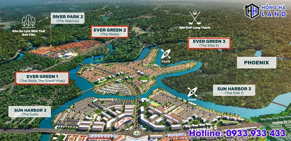 Tổng thể 3 tiểu phân khu của phân khu Ever Green Aqua City