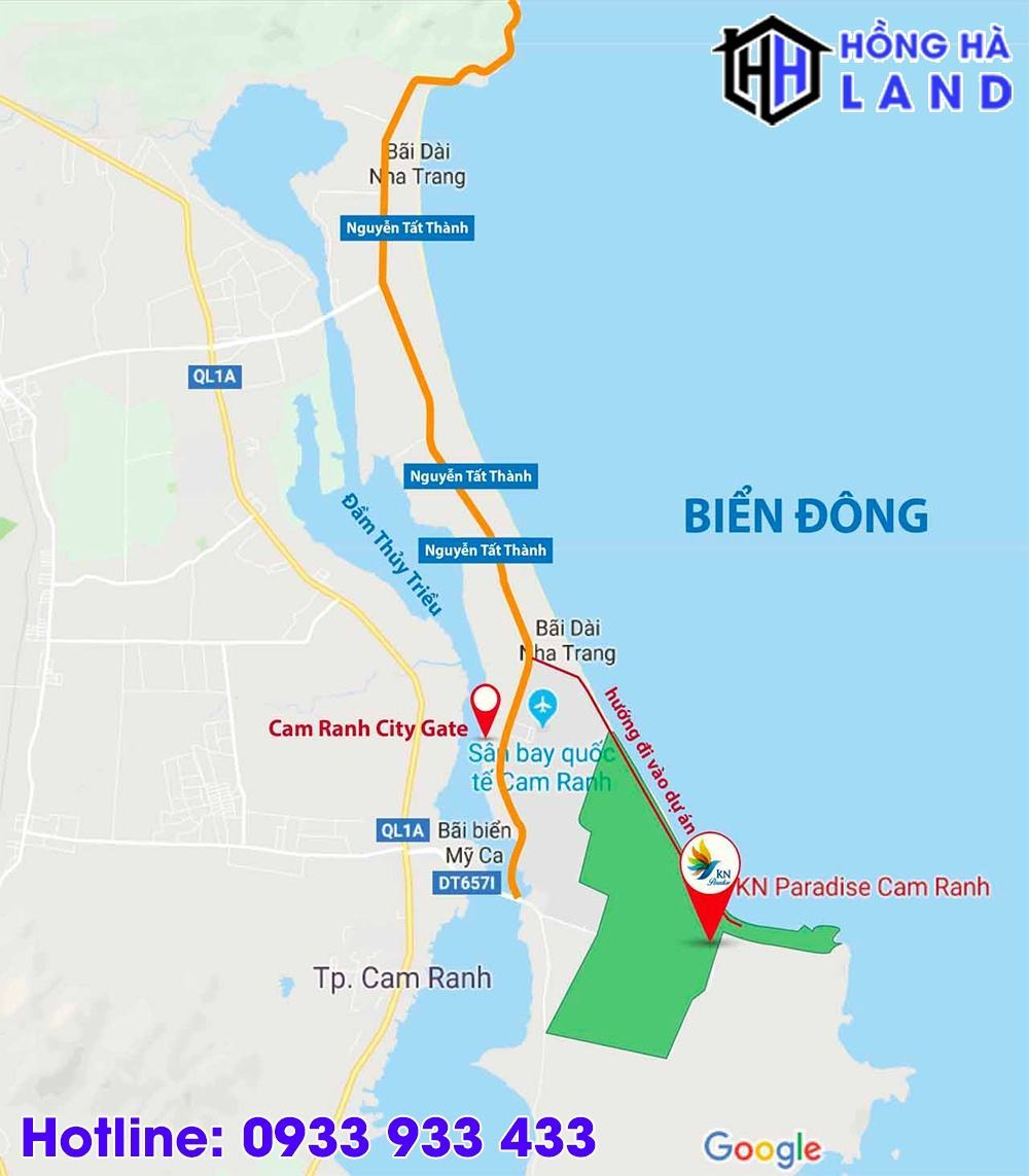 Vị trí dự án nghỉ dưỡng KN Paradise Cam Ranh